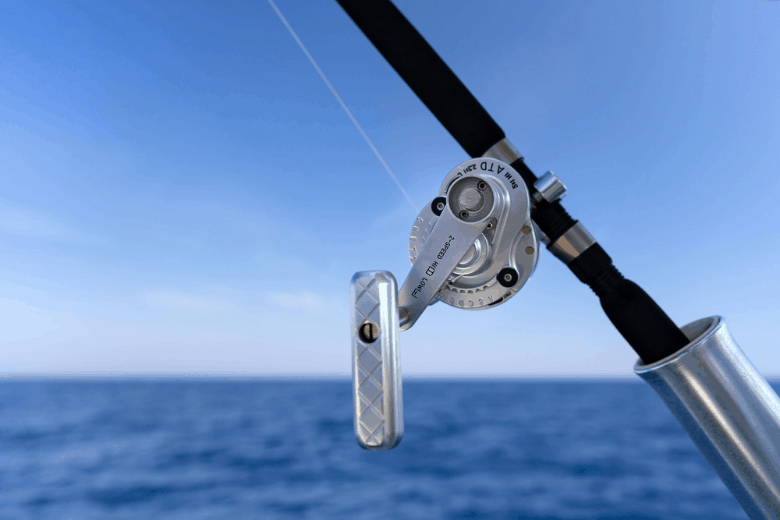 fishing reel with the sea in the background