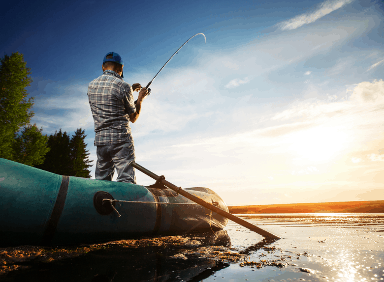 Man fishing from a boat
