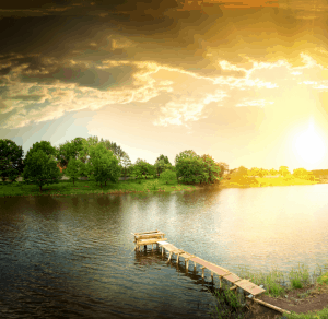 Fishing lake in the evening