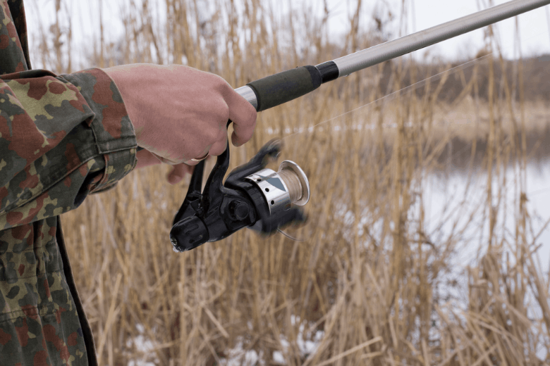 Spinning reel in motion on a blurred background of reeds