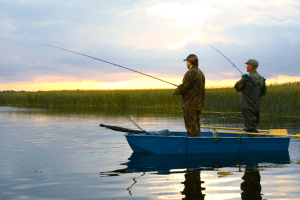 Two men fishing from a boat